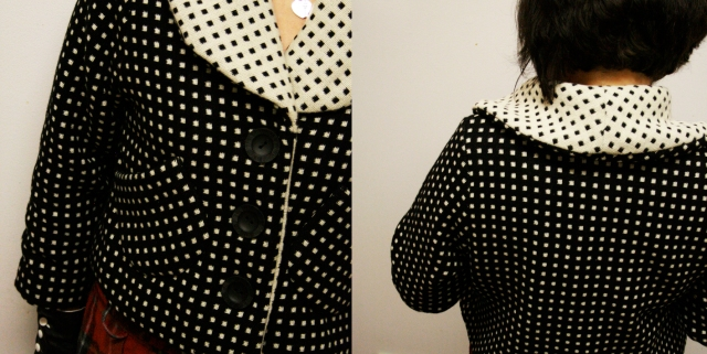 Dotty shawl jacket in wool front and back view