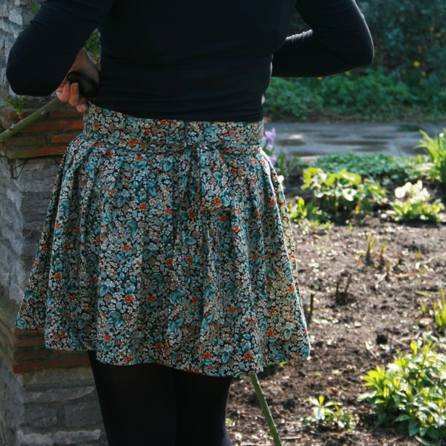 floral skirt back view: with sash tied at the back to make it more girly