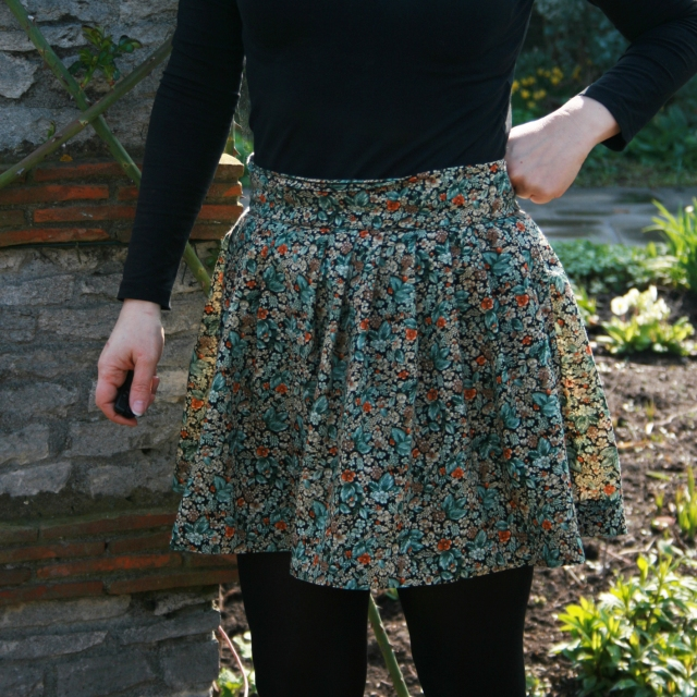 floral skirt front view