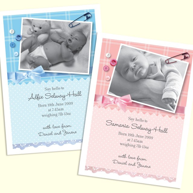 Boy and girl birth announcement with buttons and bows