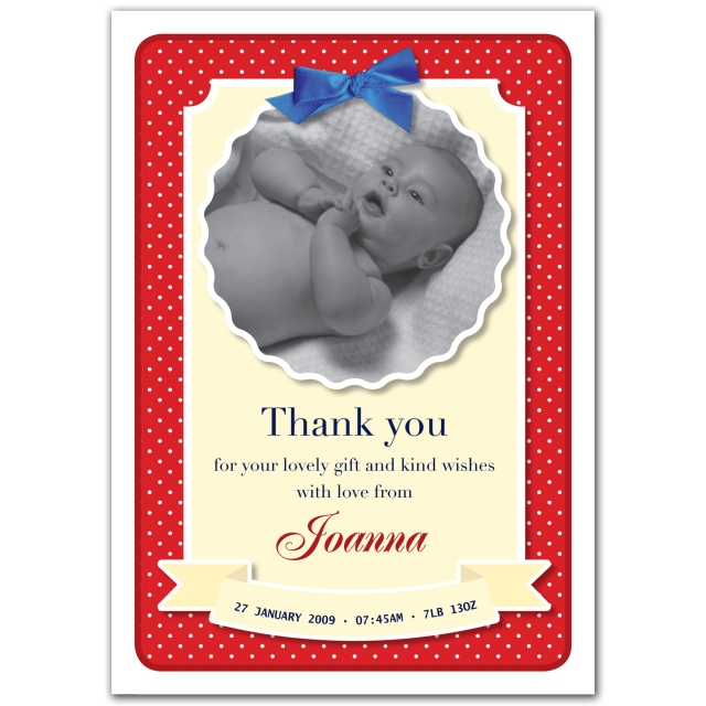 Generic polka dot birth announcement / thank you card