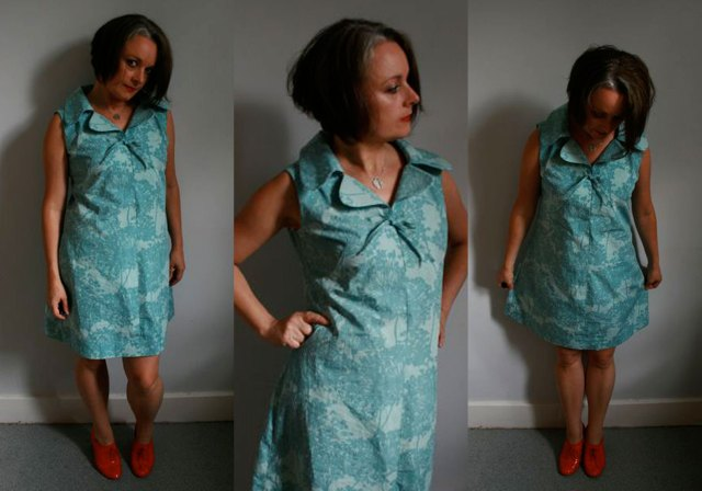 ooobop 70s dress blue