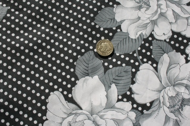 flowers and dots lightweight cotton fabric