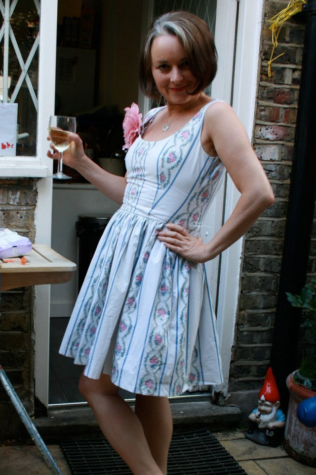 vintage sheet dress at barbecue