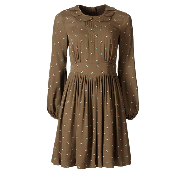 Tiny Lovebirds Silk Georgette Long Sleeve Dress