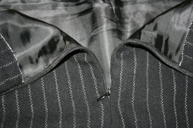 lining slip stitched to zip tape