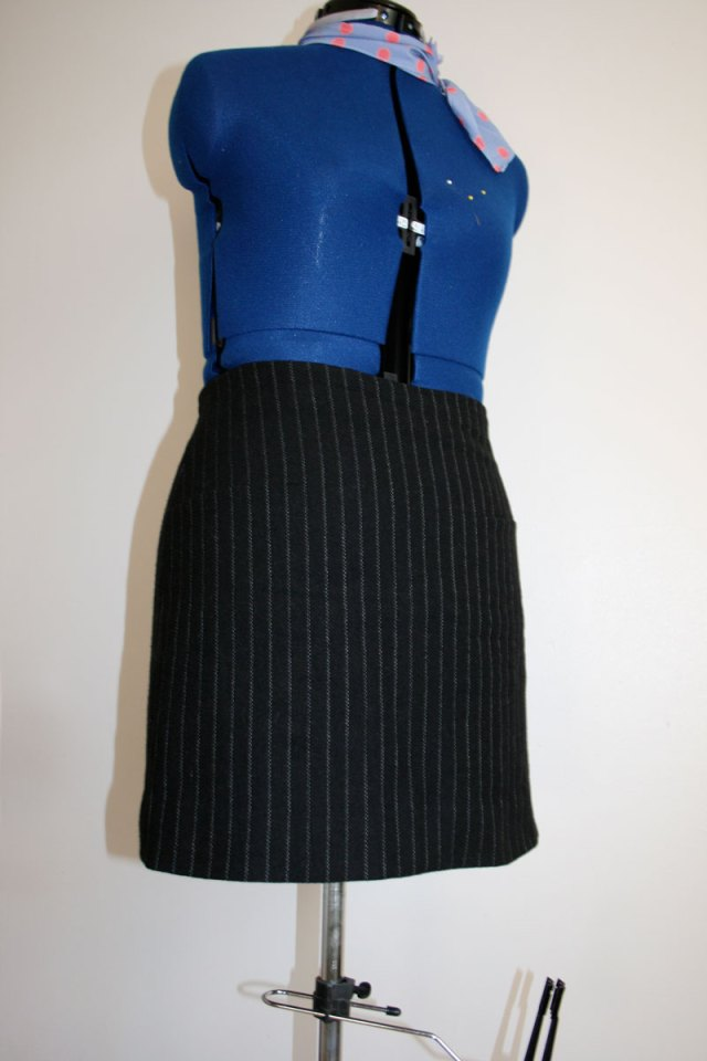A-line pinstripe mini skirt