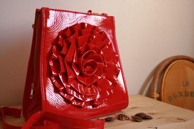 Very red pvc bag