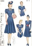 Simplicity 3302: 1930s Dress with Fitted Bodice and Accessory Set