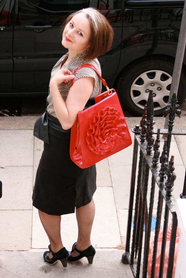 wearing the gingham blouse with my subtle red pvc handbag