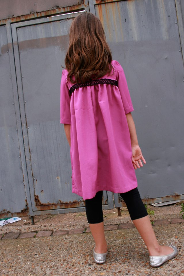 Samaria's pink dress, back view