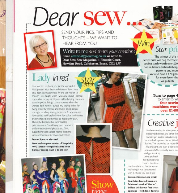 Sew Magazine star letter