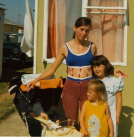 Me with my mum and sister, Caroline.