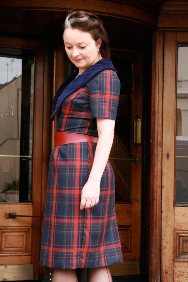 Vaguely matching plaid on side seams