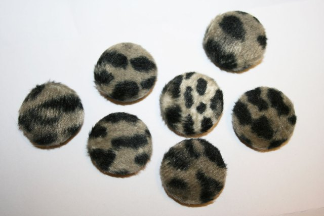 Furry covered buttons