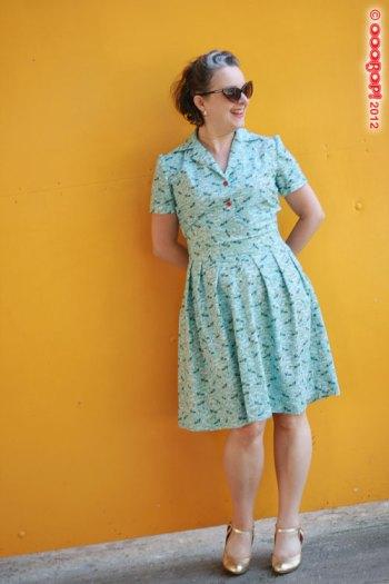 1940s dress yellow background
