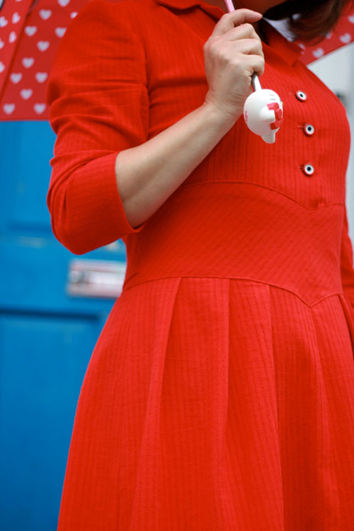 1940s shirt dress detail