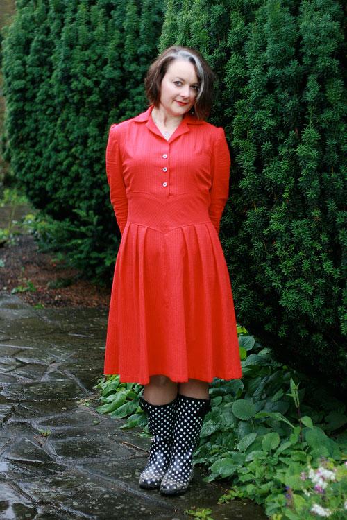 1940s red shirt dress