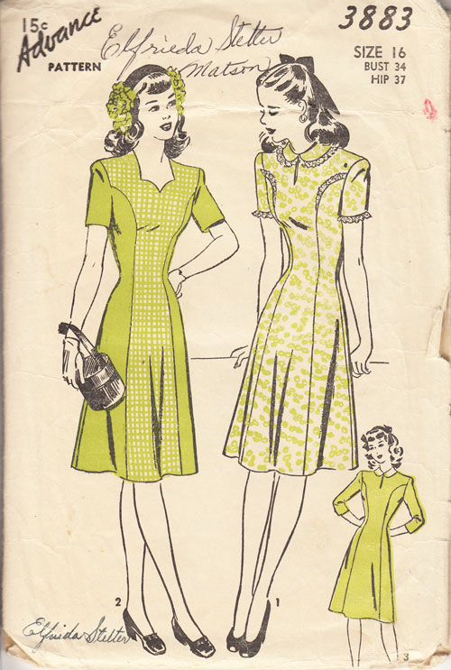 Advance 3883 40s dress pattern