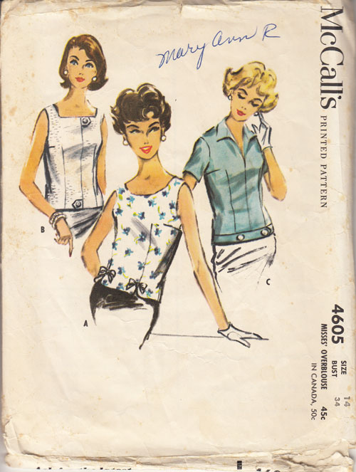 McCalls 5605 vintage pattern tops