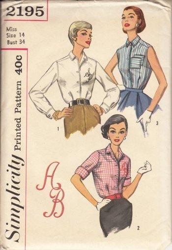 Somplicity 2195 vintage blouse pattern