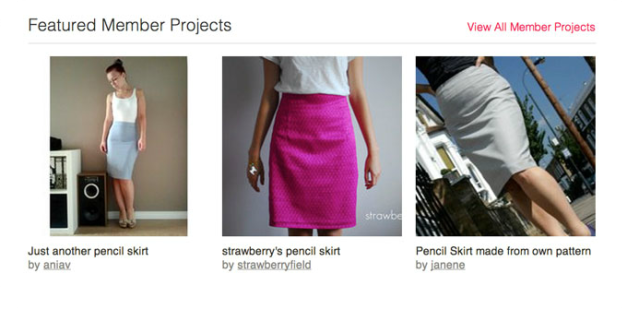 my skirt featured on Burda home page