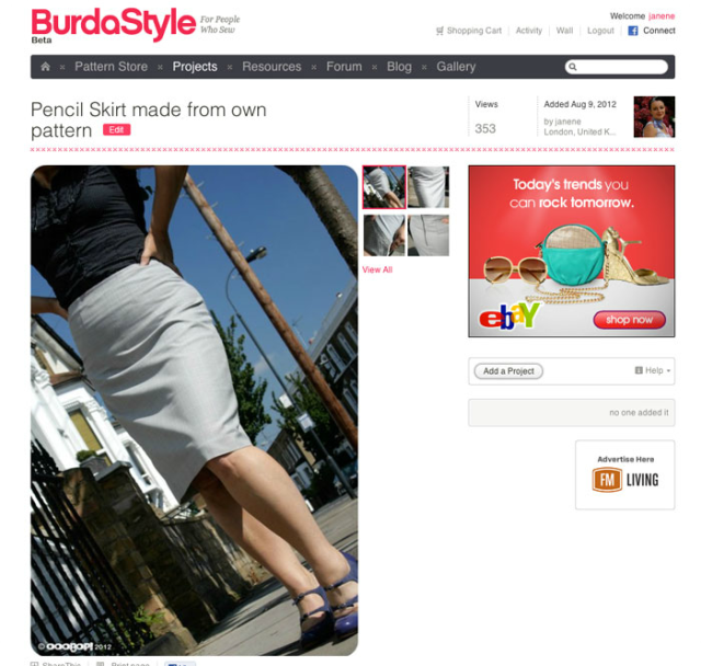 skirt featured on burda style home page