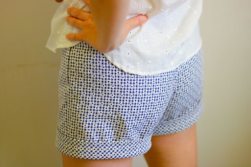 lapped zipper on side of shorts