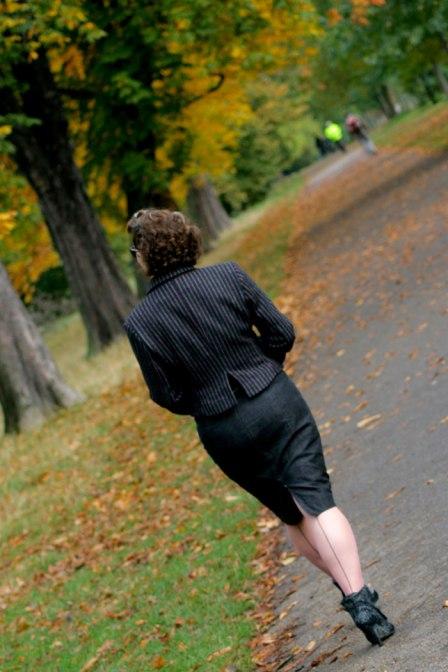 burda jacket in the leaves