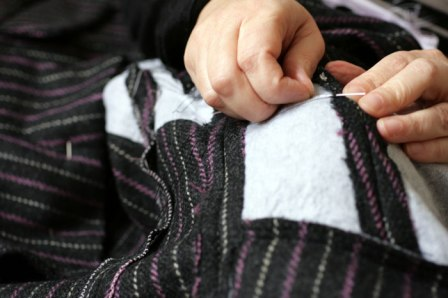 stitching seams down on interfaced sections