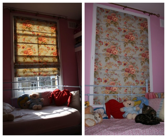 Roman blinds in rose fabric
