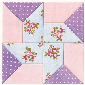 whirligig block in pastel colours