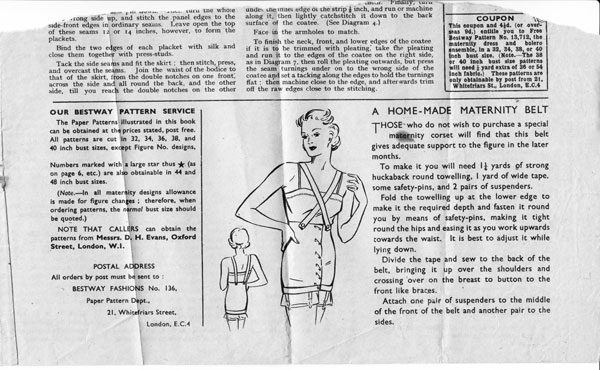 home made maternity belt circa 1940