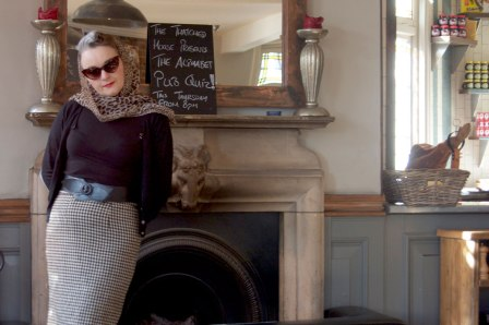 check wool skirt by the fireplace