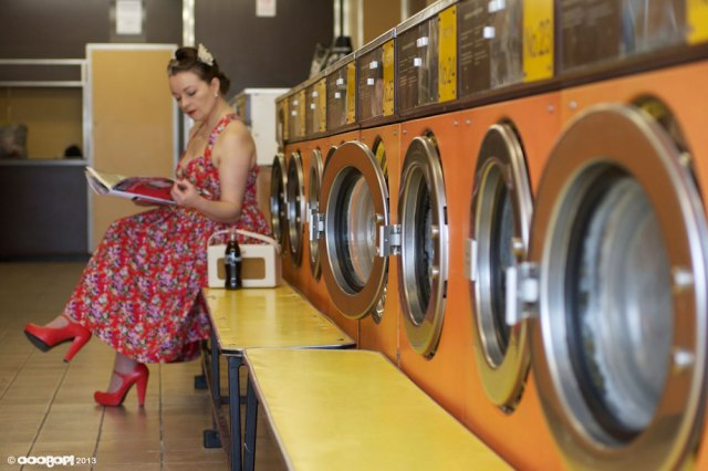 vintage style summer dress in the launderette