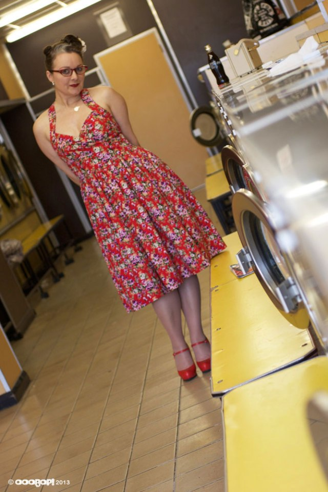 vintage floral dress in the launderette
