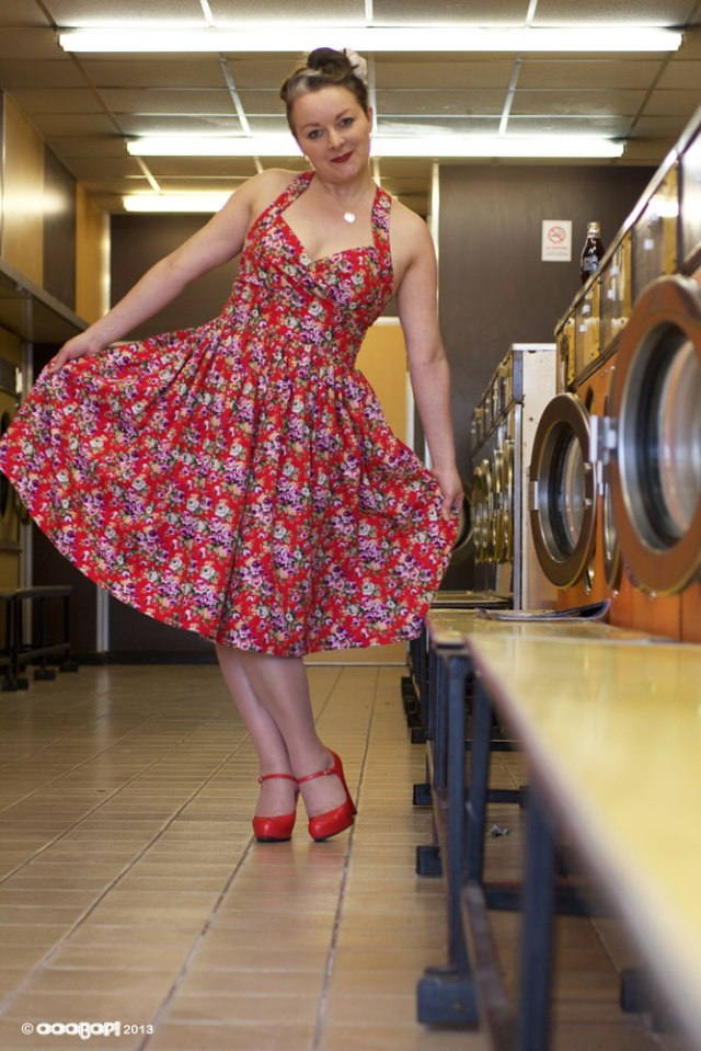 vintage floral dress with dirndl skirt