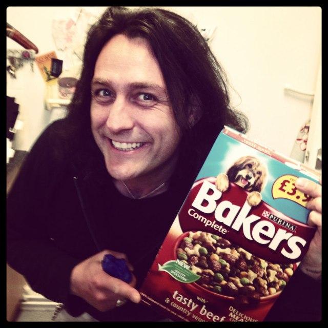 daniel eating dog biscuits