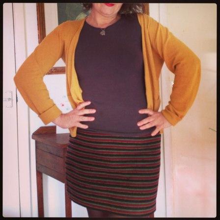 day 13 stripe wool skirt