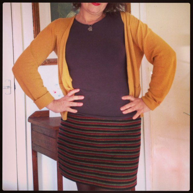 day 13 stripe wool skirt