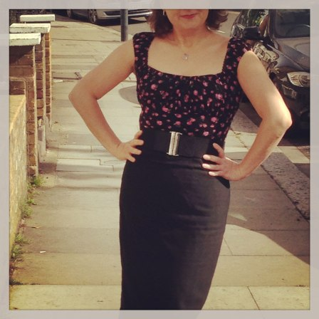 Day 23 black self-drafted pencil skirt