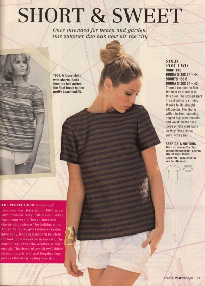 Burda July 2013 retro shorts and Tshirt
