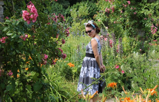 Wearing the dress in Ravenscourt Park Gardens