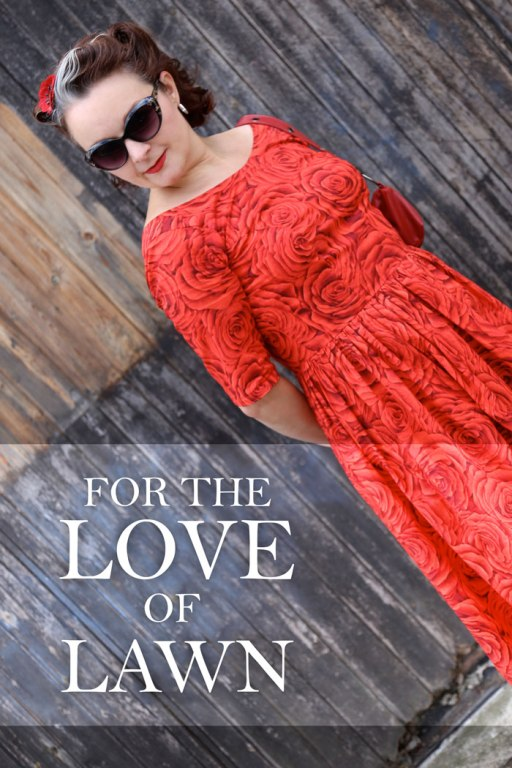 Red rose print cotton lawn dress