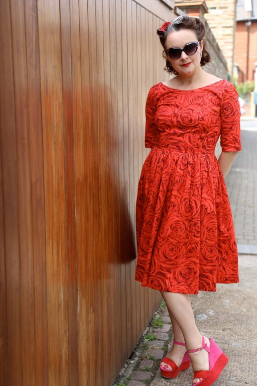 red rose lawn dress