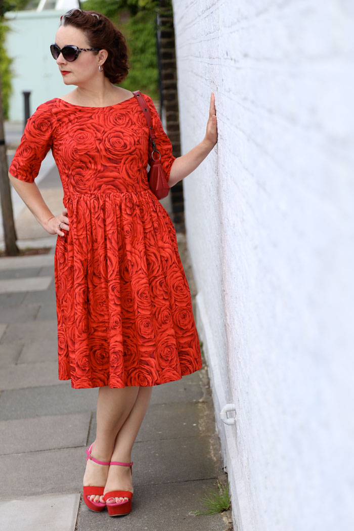 red rose cotton lawn dress