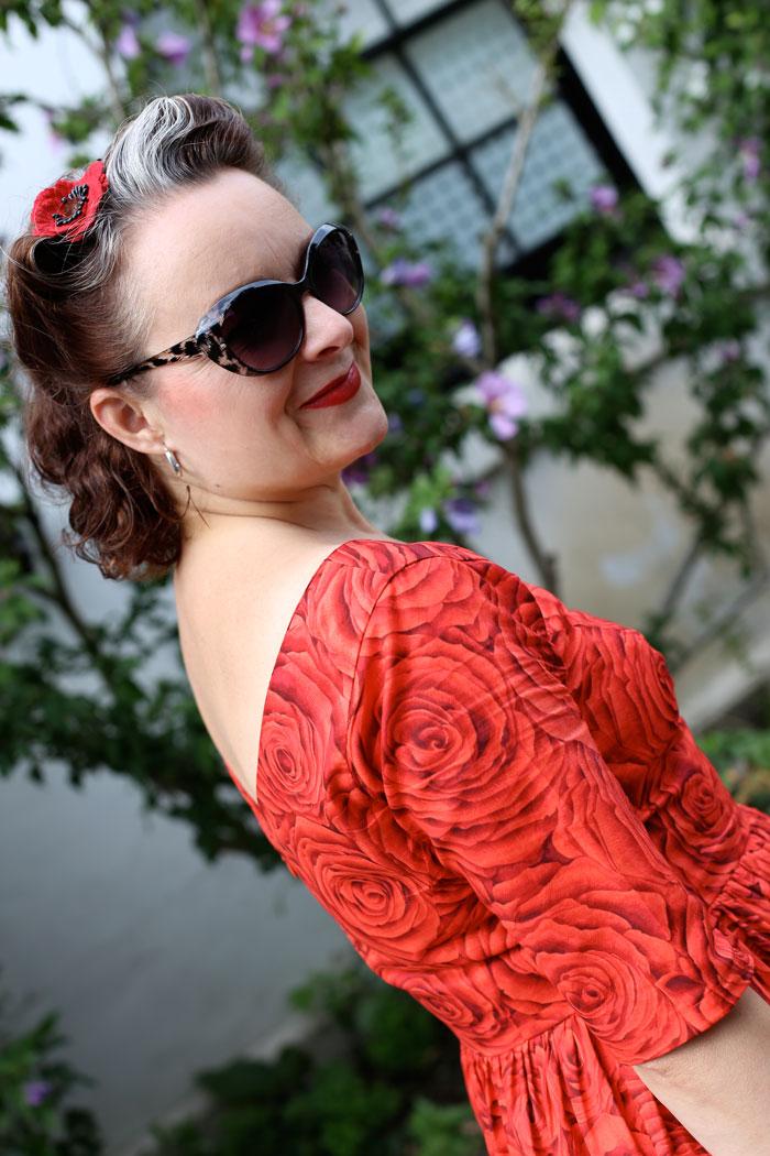 red rose cotton lawn dress over shoulder