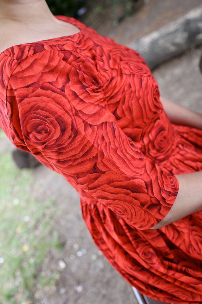 red rose cotton lawn dress detail