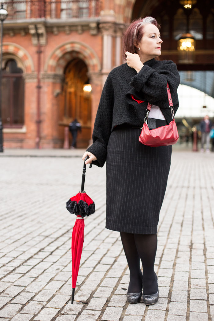 pinstripe skirt and parasol