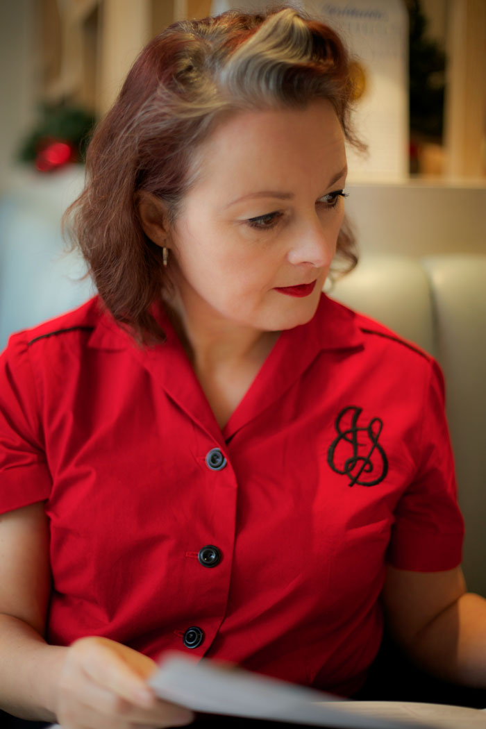 vintage 50s blouse with monogram